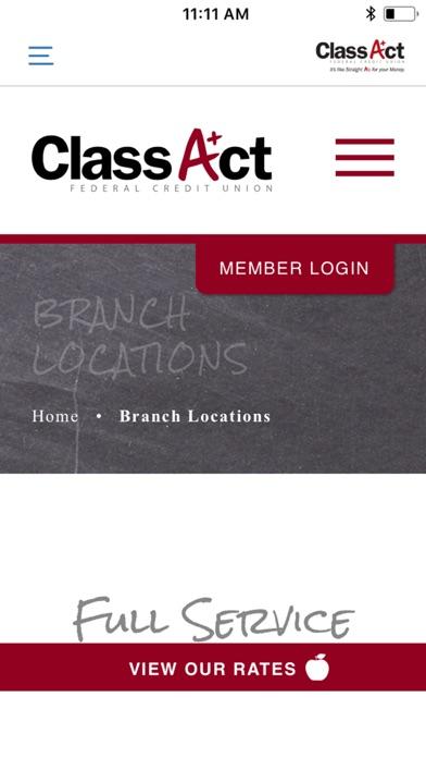 ClassAct Federal Credit Union screenshot