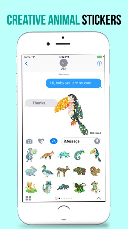Animated Doted Animals Love Stickers