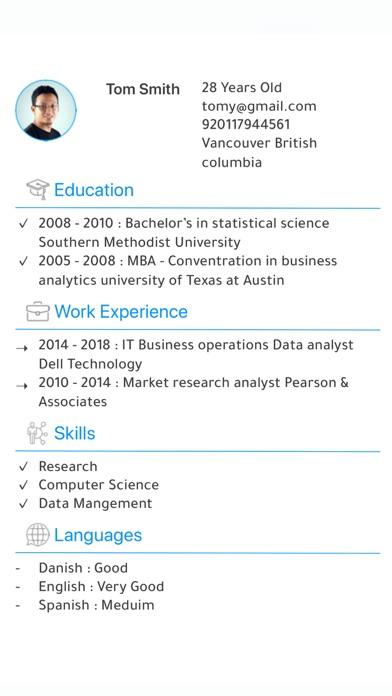 Resume Maker السيرة الذاتية screenshot 1