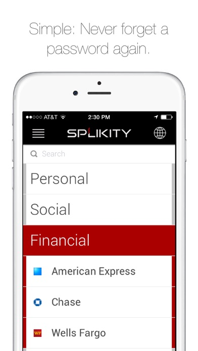Splikity | The Simple and Secure Password Solution Screenshot