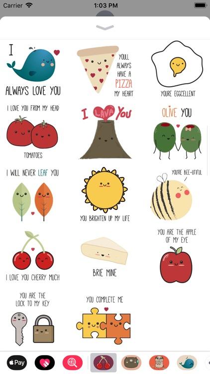 Cute Love Puns Sticker Pack screenshot-3