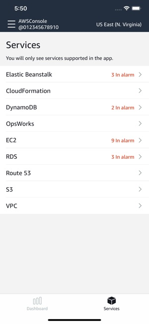 AWS Console on the App Store