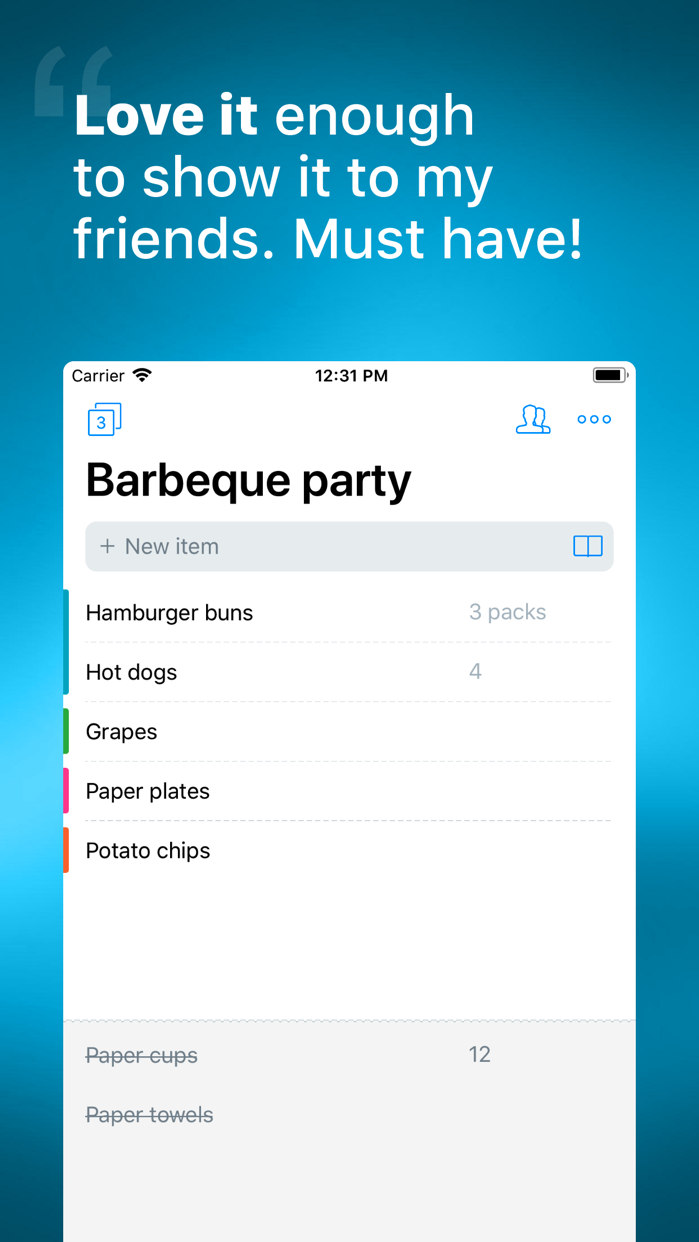 Buy Me a Pie! - Grocery List Screenshot