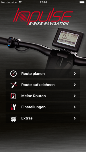 impulse e bike navigation im app store. Black Bedroom Furniture Sets. Home Design Ideas