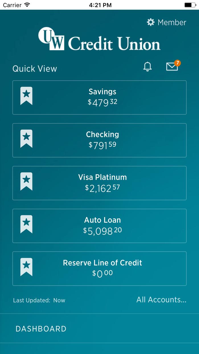 UW Credit Union Screenshot