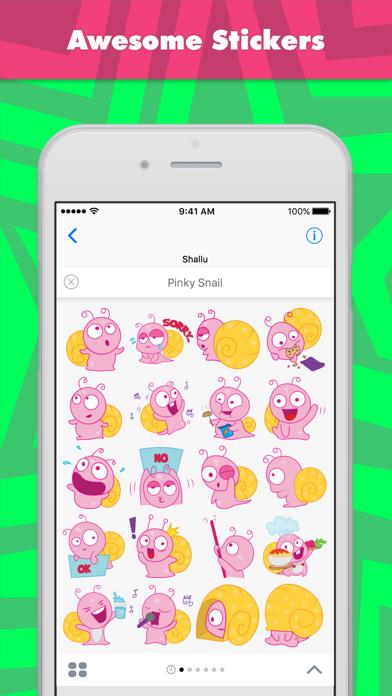 Pinky Snail stickers by Shallu screenshot one