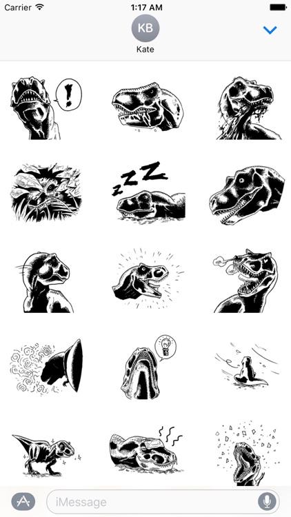Black and White T-Rex Sticker