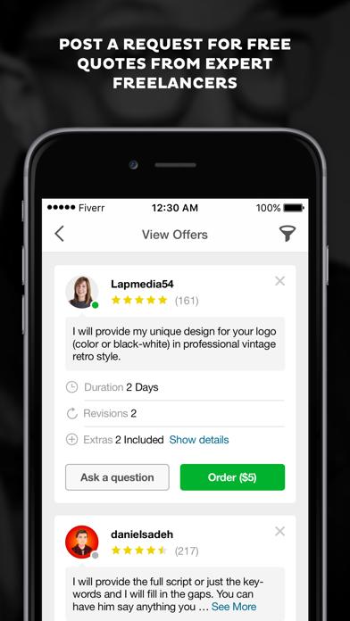 Screenshot 4 for Fiverr's iPhone app'