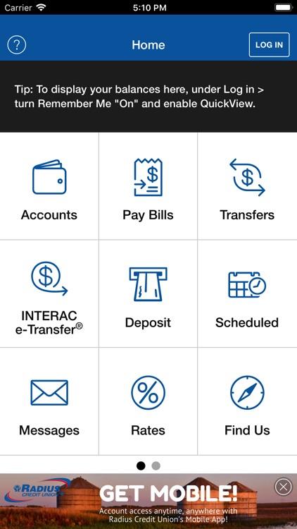 Radius Credit Union Mobile App