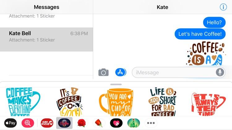 Coffee Moji Quotes Sticker App screenshot-3