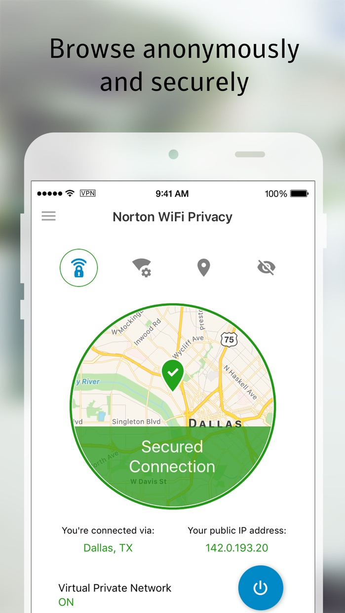 Norton WiFi Privacy VPN Screenshot