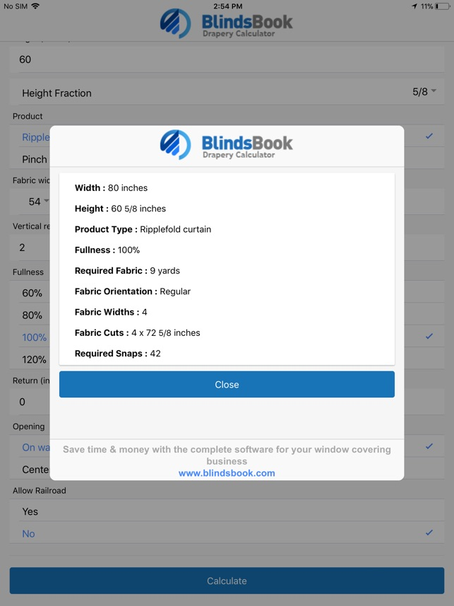 BlindsBook Drapery Calculator on the App Store