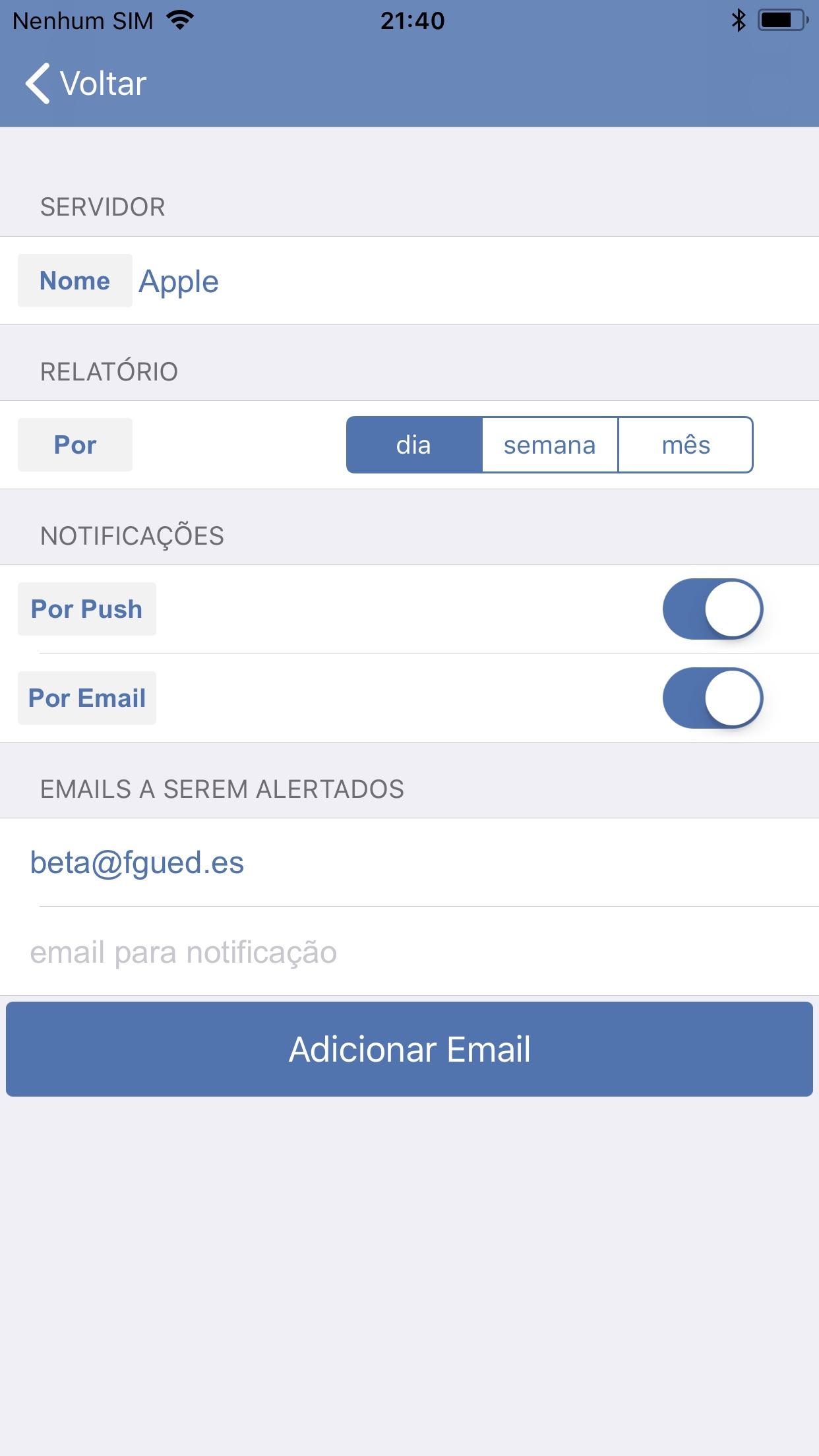 Screenshot do app Servidores App