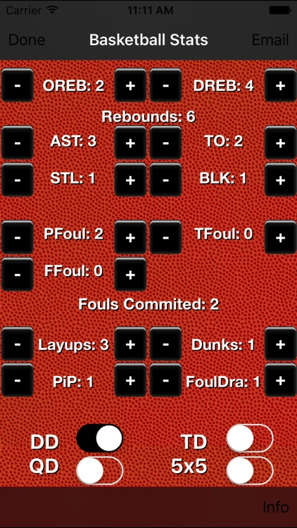 Basketball Stats Tracker Touch