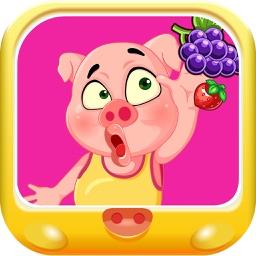 粉红小猪去水果农场采摘