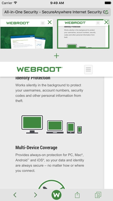 Webroot Secureweb Browser review screenshots