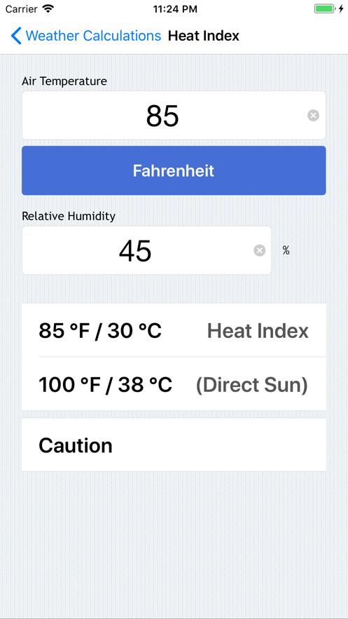 Weather Calculations App 截图