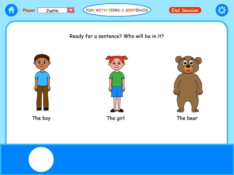 Fun Verbs & Sentences Lite HD screenshot-0