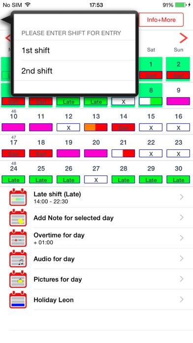 Roster-Calendar Pro Screenshots