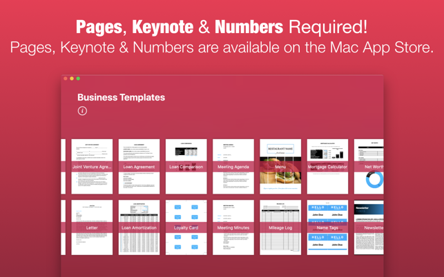 business templates by nobody on the mac app store