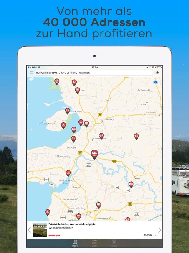 wohnmobilstellplätze deutschland karte CaraMaps Wohnmobilstellplätze im App Store