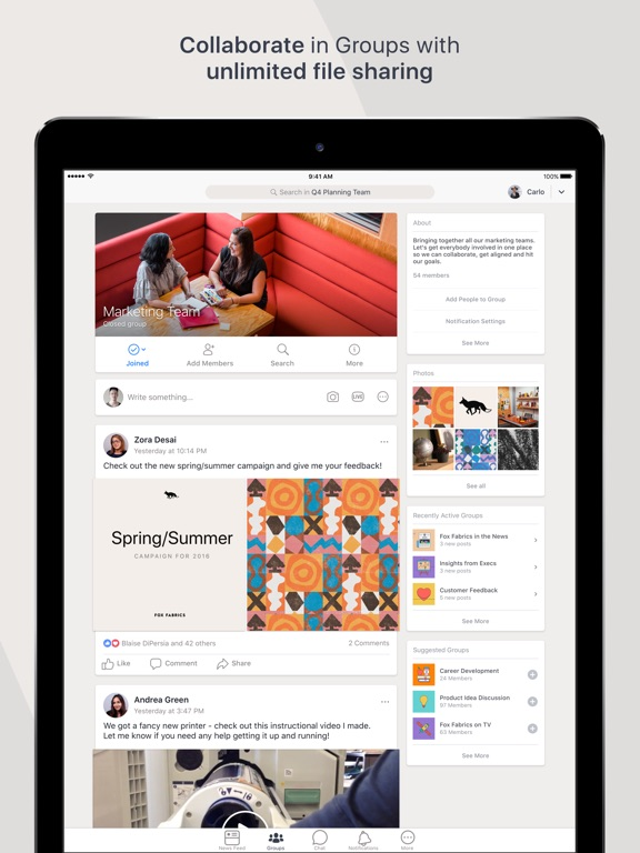Workplace by Facebook-ipad-1