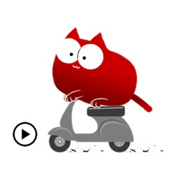 Animated Lazy Red Cat Sticker