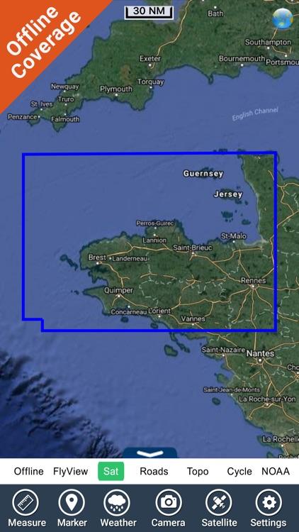 Brittany Nautical Charts HD screenshot-4