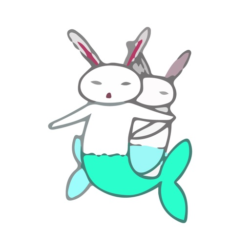 Bunny Mermaid Cute Sticker Emo