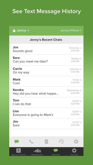 SaferKid Text Monitoring App Screenshot