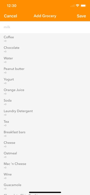 daily grocery list