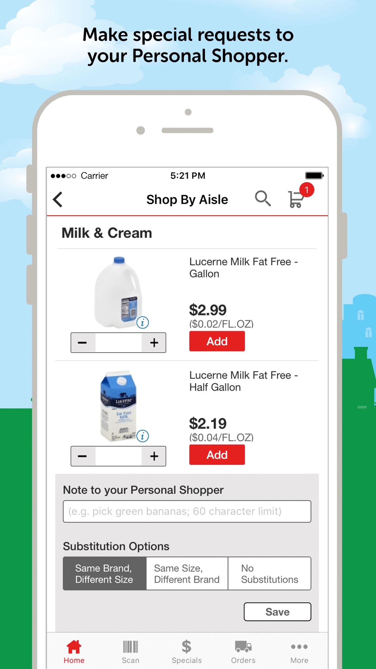 Safeway Online Shopping Screenshot