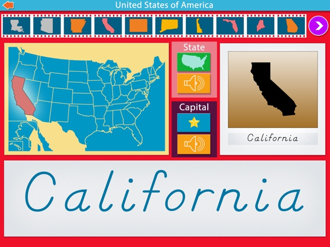 U.S. State Capitals -Montessori Geography for Kids Screenshot