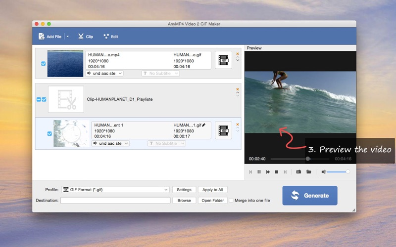 AnyMP4视频到GIF转换生成器