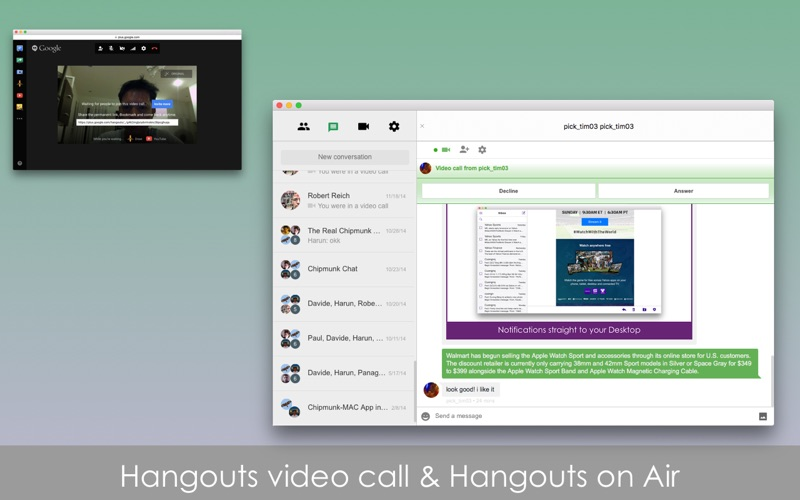 Chatty for Google Hangouts Screenshots