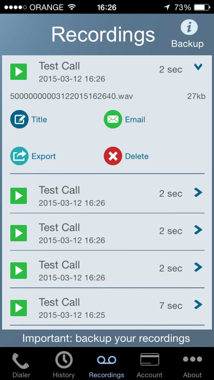 Call Recorder - IntCall Screenshot