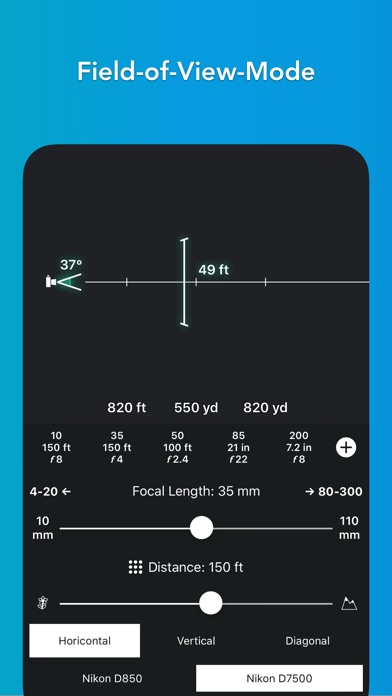 FocusFinder DoF Calculator Screenshots