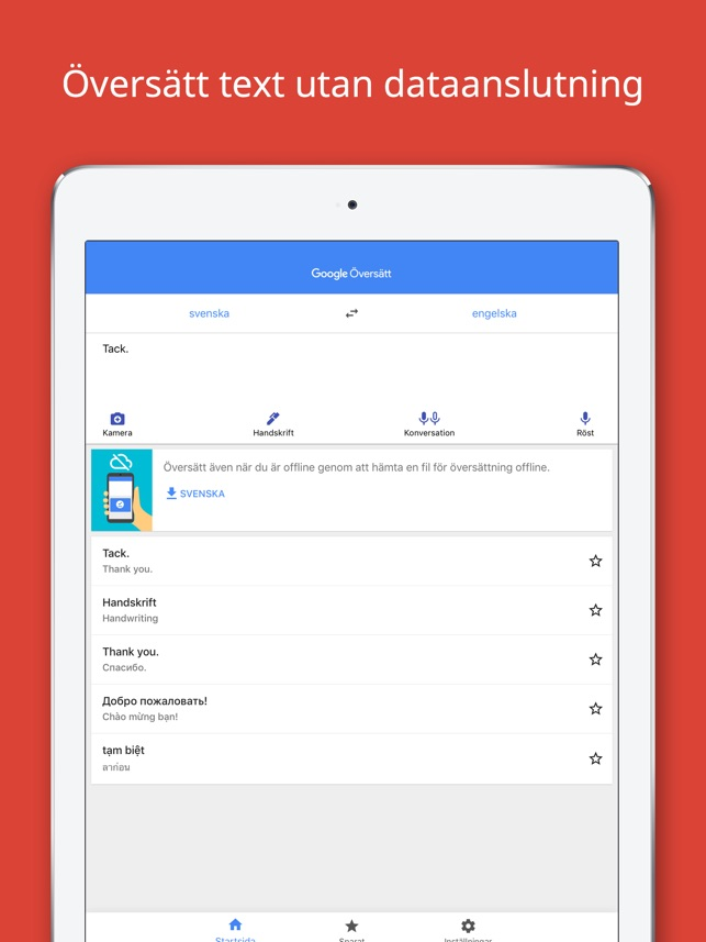 Google översätt I App Store