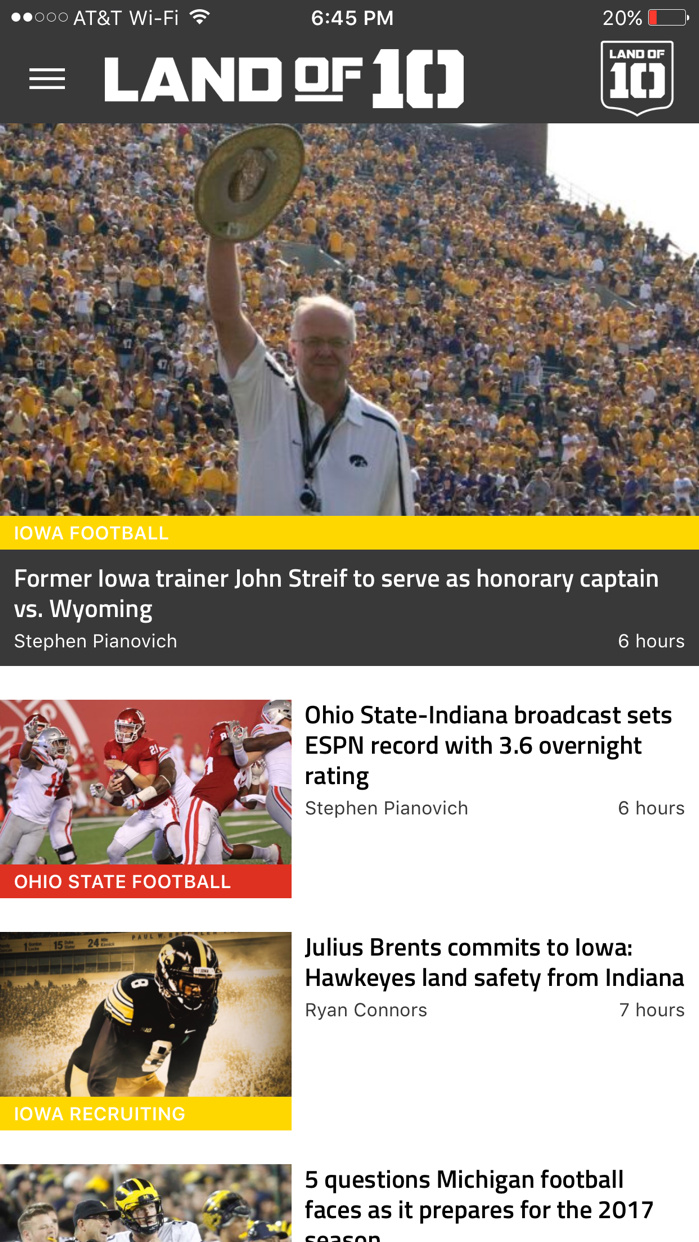 Landof10 - Big10 Football News Screenshot