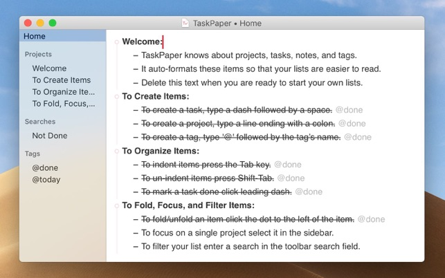 ‎TaskPaper – Plain text to-dos Screenshot