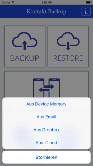 Kontakt Backup übertragung Im App Store