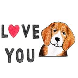 Cute Beagle Dog Says Sticker