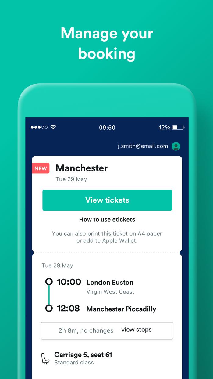 Trainline UK: Train & Bus App Screenshot
