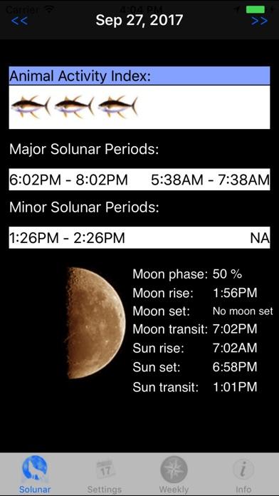 Solunar Table review screenshots