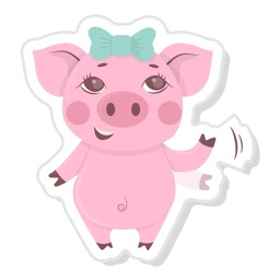Pink Piggy Animated Stickers