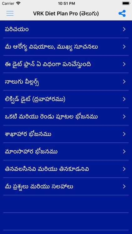 VRK Diet Plan Telugu Pro