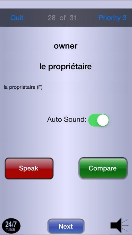 French Vocabulary 24/7 Language Learning screenshot-4