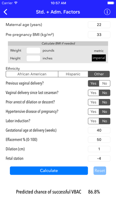 VBAC Calculator - Predict success rates for vaginal birth