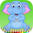 elephant coloring book for kids : learn to paint elephants and mammoth icon