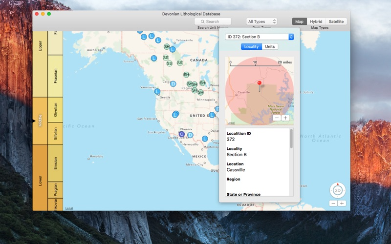 Devonian Lithological Database for Mac